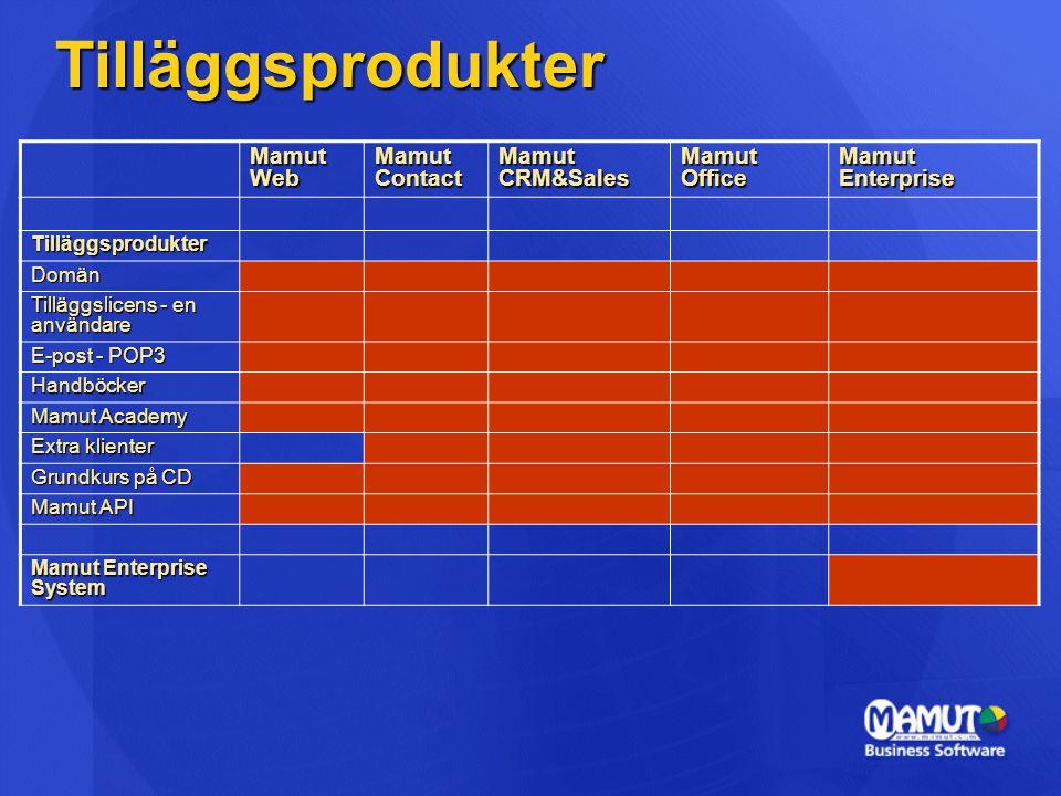 Mamut Enterprise System (MES)  MES – Ett samlingsnamn  Mamut Enterprise huvudprodukter tillsammans med tilläggsprodukter.