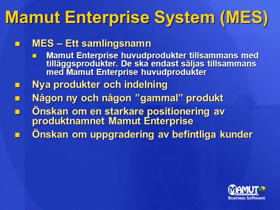 Mamut Enterprise System (MES)  MES – Ett samlingsnamn  Mamut Enterprise huvudprodukter tillsammans med tilläggsprodukter. De ska endast säljas tills