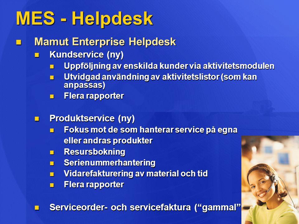 MES - Telemarketing  Mamut Enterprise Telemarketing  Hjälp till företag som använder telefon, telefax, e-post och brev för att sälja produkter/tjänster  Utökad användning av aktivitetslistor (som kan anpassas)  Flera rapporter