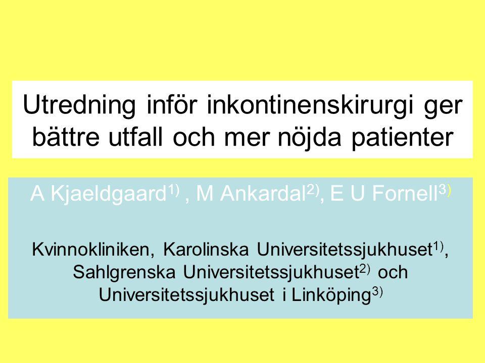 Material & metoder Inkontop - ett delregister till Gynop •4437 registrerade inkontinensop från de 37 kliniker som bidragit 2006 - 2009 •Primärt outcome är behandlingsresultaten efter 1 år (n=2256) där andelen - kontinenta - nöjda relaterats till - preoperativ utredningsmetod •Univariat analys med Chi2 test (nonparametrisk)