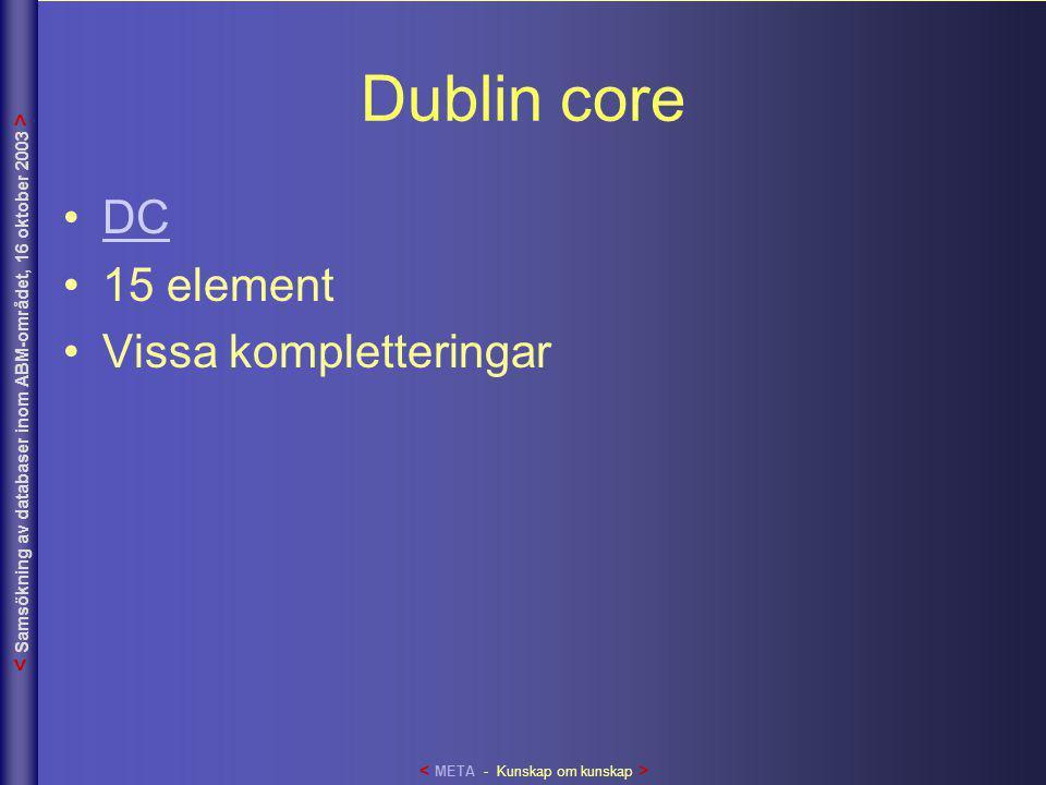 Dublin core •DCDC •15 element •Vissa kompletteringar