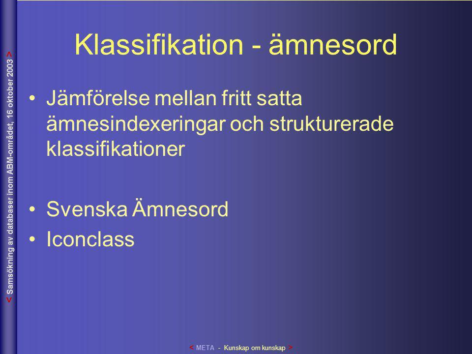 Klassifikation - ämnesord •Jämförelse mellan fritt satta ämnesindexeringar och strukturerade klassifikationer •Svenska Ämnesord •Iconclass