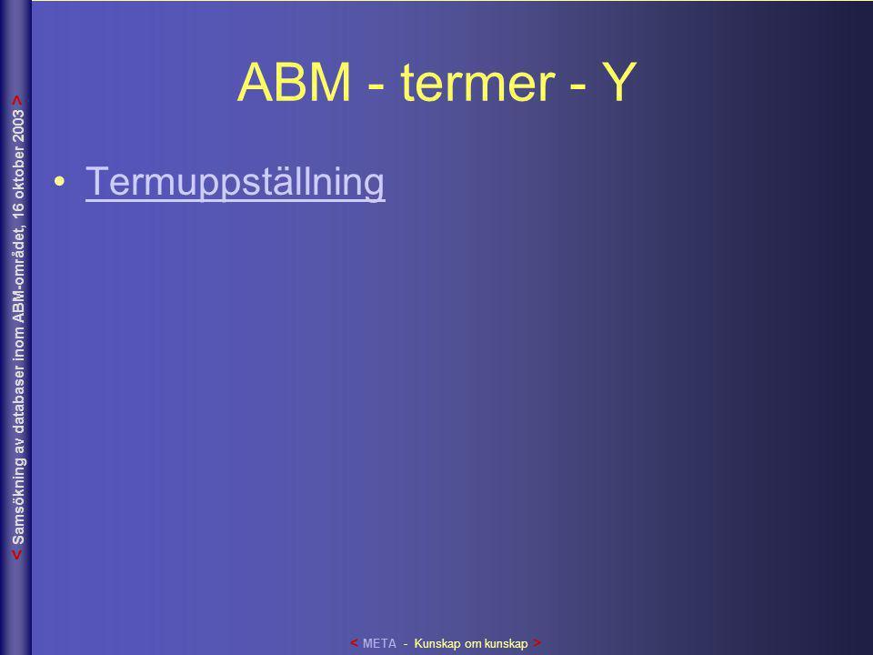 ABM - termer - Y •TermuppställningTermuppställning