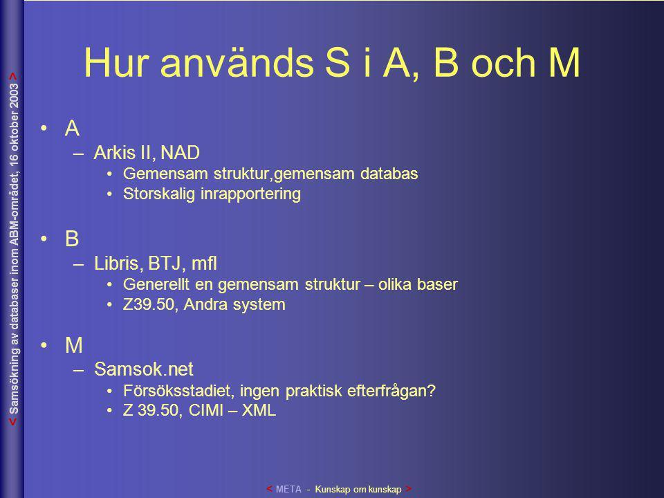 Hur används S i A, B och M •A –Arkis II, NAD •Gemensam struktur,gemensam databas •Storskalig inrapportering •B –Libris, BTJ, mfl •Generellt en gemensa
