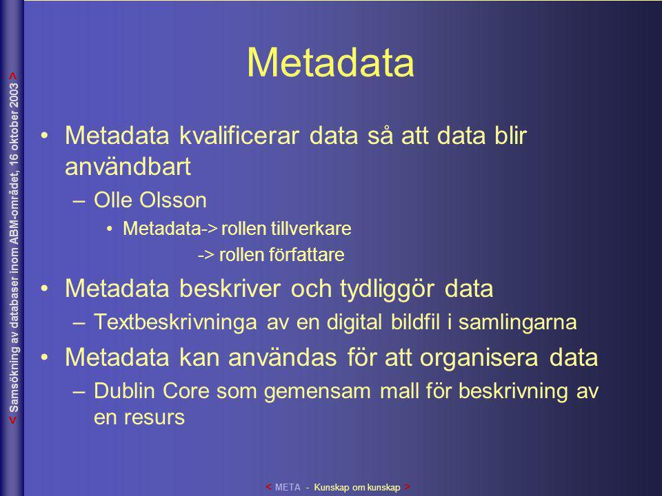 Metadata •Metadata kvalificerar data så att data blir användbart –Olle Olsson •Metadata-> rollen tillverkare -> rollen författare •Metadata beskriver