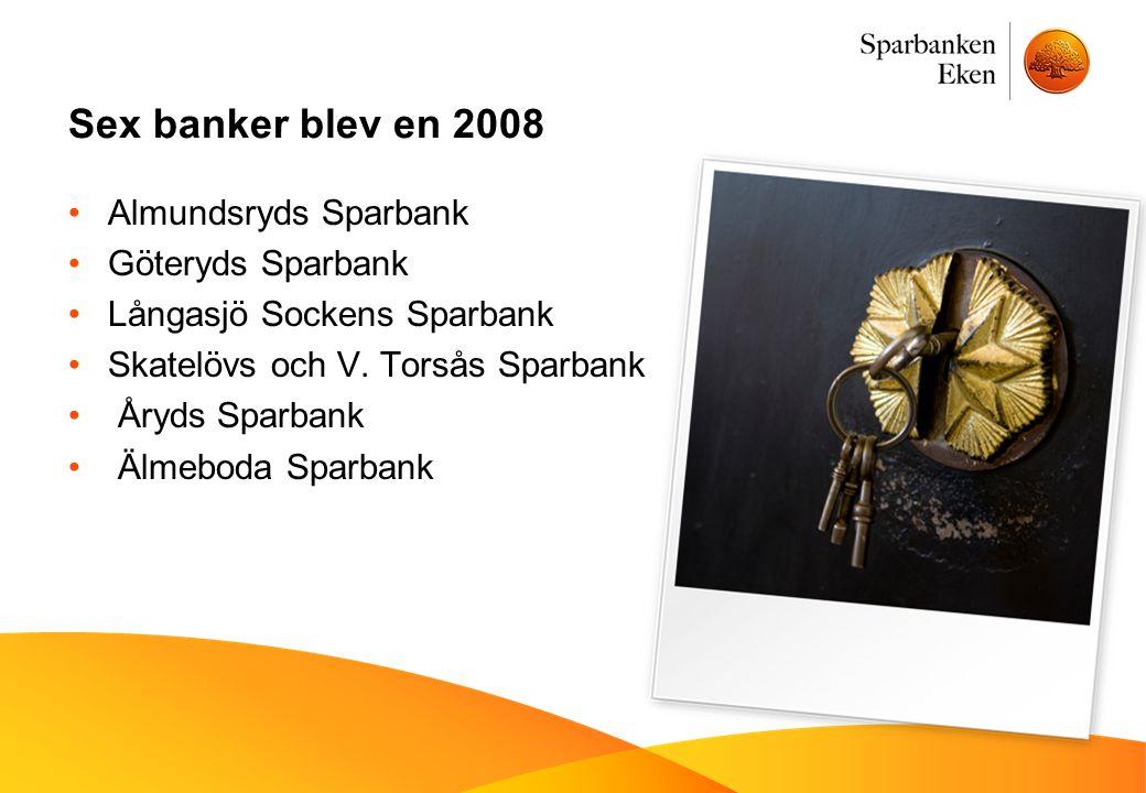 Sex banker blev en 2008 •Almundsryds Sparbank •Göteryds Sparbank •Långasjö Sockens Sparbank •Skatelövs och V. Torsås Sparbank • Åryds Sparbank • Älmeb