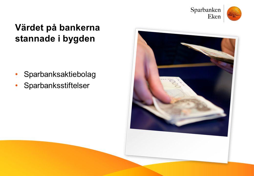 Värdet på bankerna stannade i bygden •Sparbanksaktiebolag •Sparbanksstiftelser