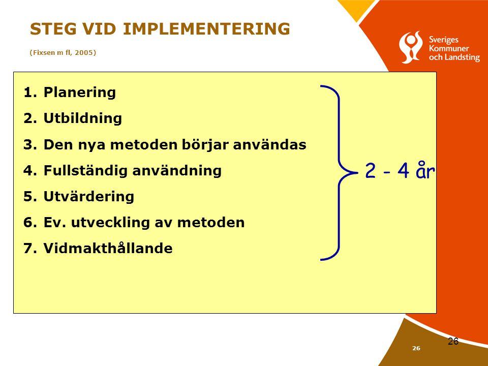 26 STEG VID IMPLEMENTERING (Fixsen m fl, 2005) 1.Planering 2.Utbildning 3.Den nya metoden börjar användas 4.Fullständig användning 5.Utvärdering 6.Ev.