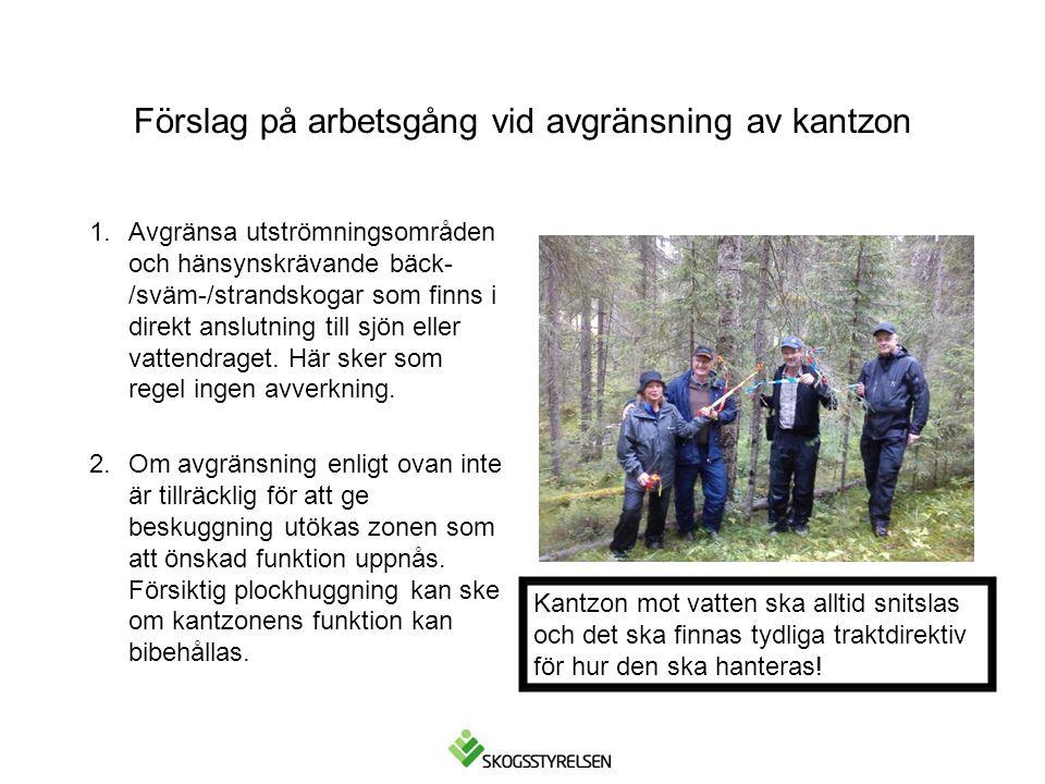 Förslag på arbetsgång vid avgränsning av kantzon 1.Avgränsa utströmningsområden och hänsynskrävande bäck- /sväm-/strandskogar som finns i direkt anslu