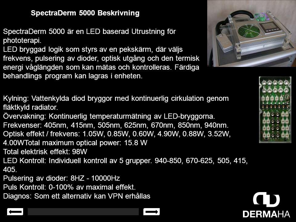 SpectraDerm 5000 Beskrivning SpectraDerm 5000 är en LED baserad Utrustning för phototerapi. LED bryggad logik som styrs av en pekskärm, där väljs frek