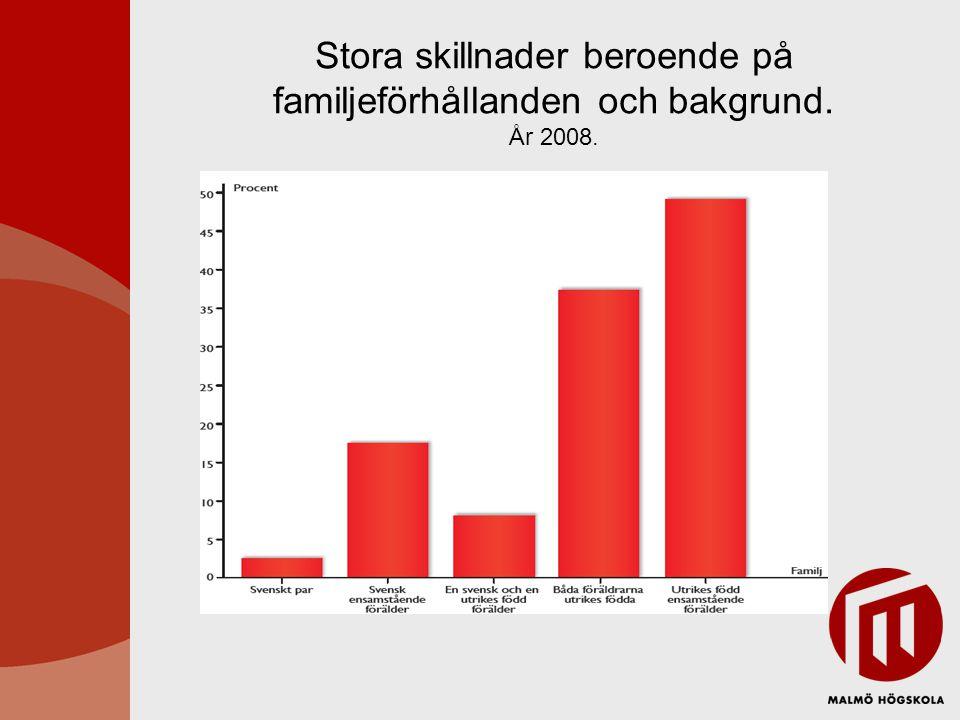 Stora skillnader beroende på familjeförhållanden och bakgrund. År 2008.