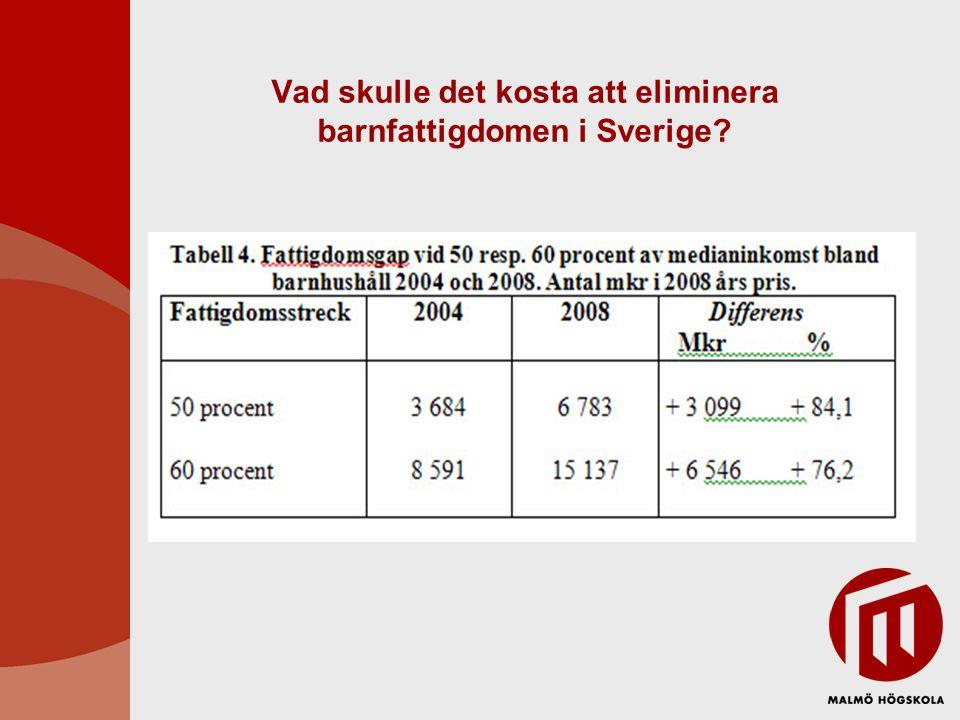 Vad skulle det kosta att eliminera barnfattigdomen i Sverige?