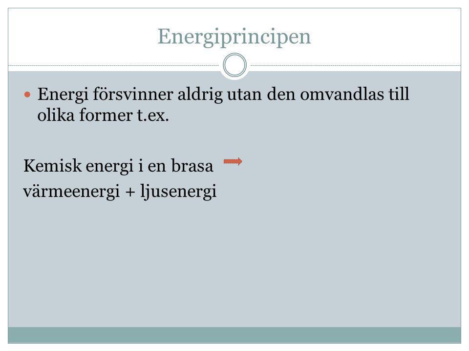 Energiprincipen  Energi försvinner aldrig utan den omvandlas till olika former t.ex. Kemisk energi i en brasa värmeenergi + ljusenergi