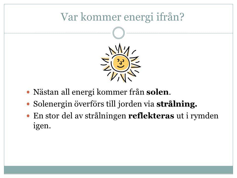 Var kommer energi ifrån?  Nästan all energi kommer från solen. strålning  Solenergin överförs till jorden via strålning.  En stor del av strålninge