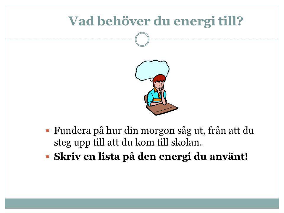 Vad behöver du energi till?  Fundera på hur din morgon såg ut, från att du steg upp till att du kom till skolan.  Skriv en lista på den energi du an
