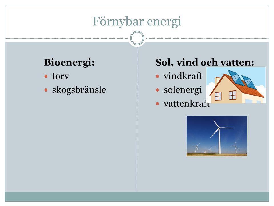Förnybar energi Bioenergi:  torv  skogsbränsle Sol, vind och vatten:  vindkraft  solenergi  vattenkraft