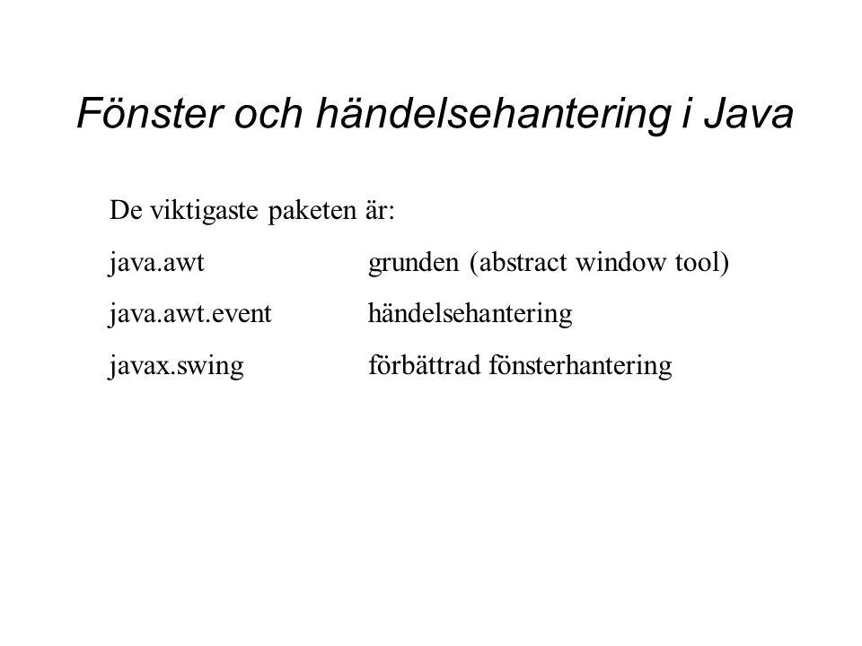 Fönster och händelsehantering i Java De viktigaste paketen är: java.awtgrunden (abstract window tool) java.awt.eventhändelsehantering javax.swingförbä