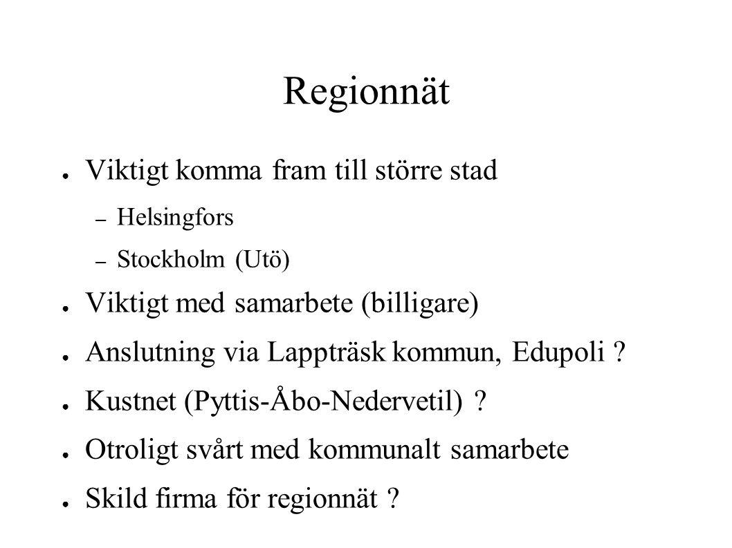 Regionnät ● Viktigt komma fram till större stad – Helsingfors – Stockholm (Utö) ● Viktigt med samarbete (billigare) ● Anslutning via Lappträsk kommun,