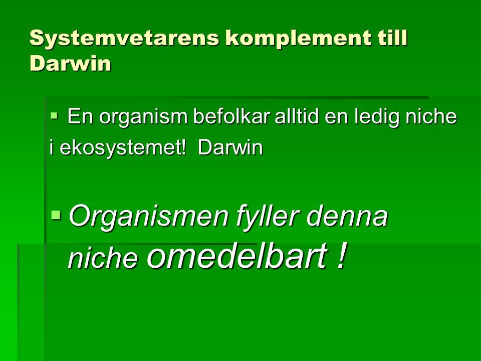 Systemvetarens komplement till Darwin  En organism befolkar alltid en ledig niche i ekosystemet.