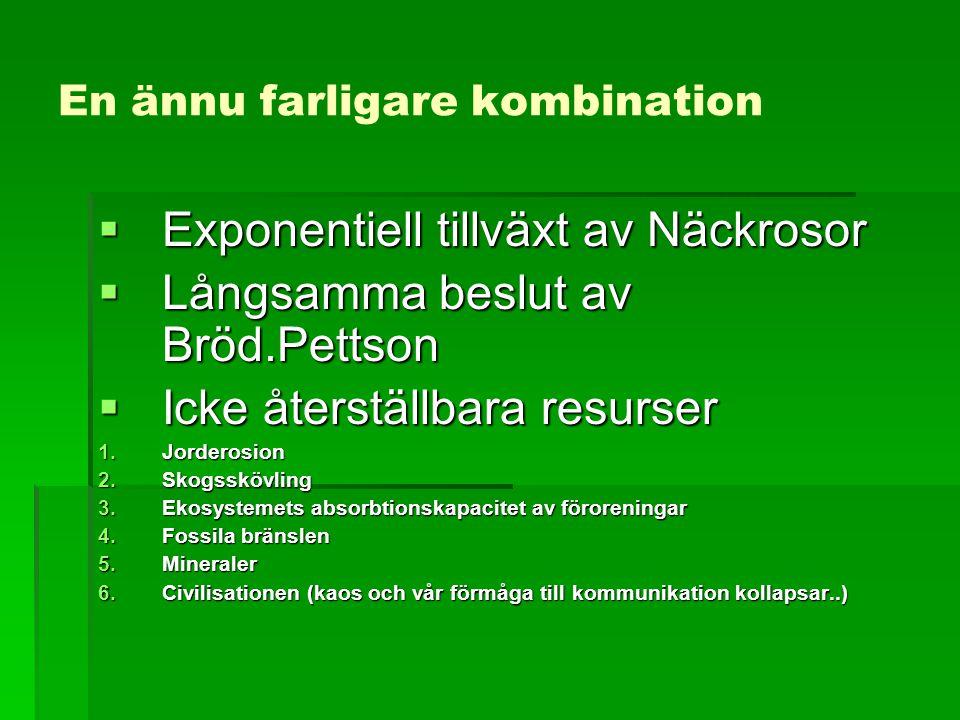 En ännu farligare kombination  Exponentiell tillväxt av Näckrosor  Långsamma beslut av Bröd.Pettson  Icke återställbara resurser 1.Jorderosion 2.Skogsskövling 3.Ekosystemets absorbtionskapacitet av föroreningar 4.Fossila bränslen 5.Mineraler 6.Civilisationen (kaos och vår förmåga till kommunikation kollapsar..)