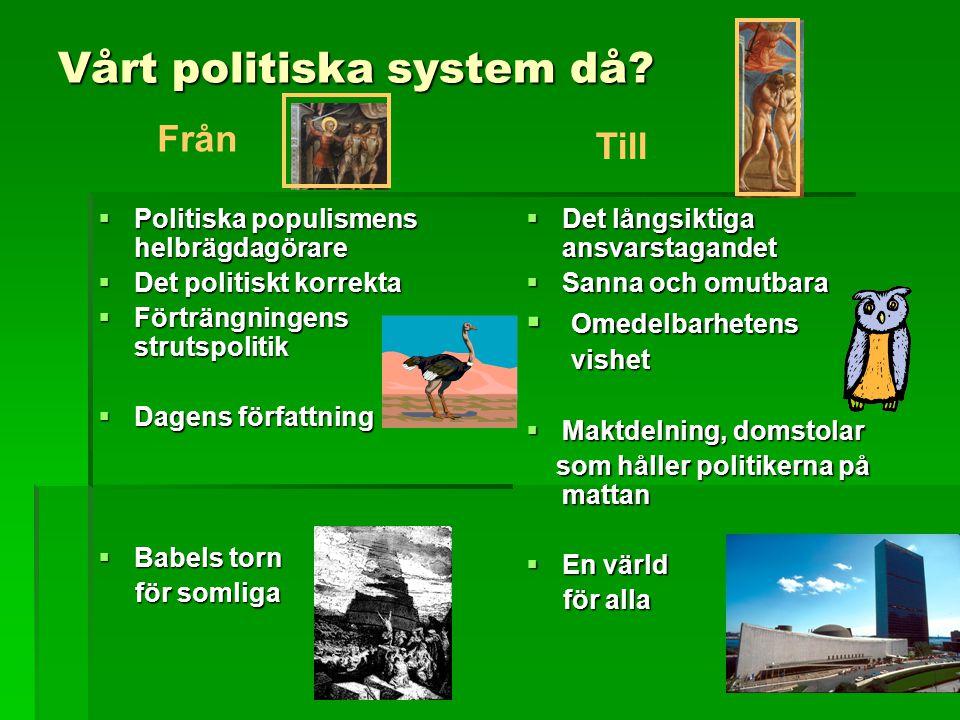 Vårt politiska system då.