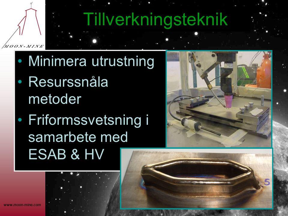 www.moon-mine.com Tillverkningsteknik •Minimera utrustning •Resurssnåla metoder •Friformssvetsning i samarbete med ESAB & HV