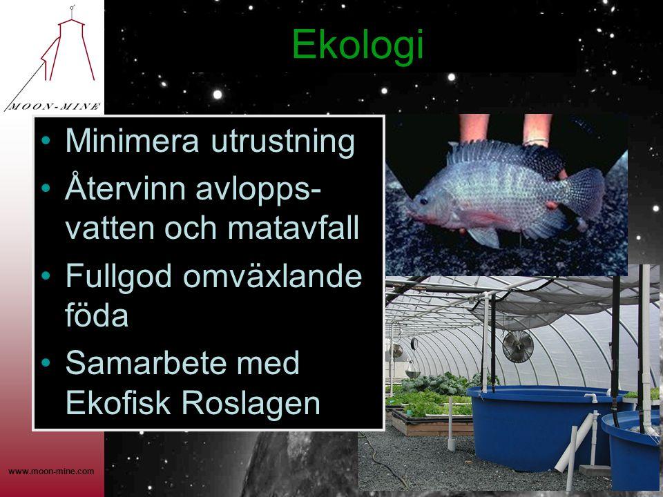 www.moon-mine.com Ekologi •Minimera utrustning •Återvinn avlopps- vatten och matavfall •Fullgod omväxlande föda •Samarbete med Ekofisk Roslagen