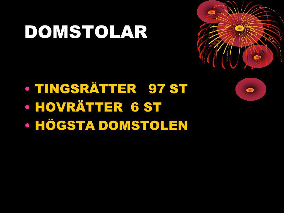 DOMSTOLAR •TINGSRÄTTER 97 ST •HOVRÄTTER 6 ST •HÖGSTA DOMSTOLEN