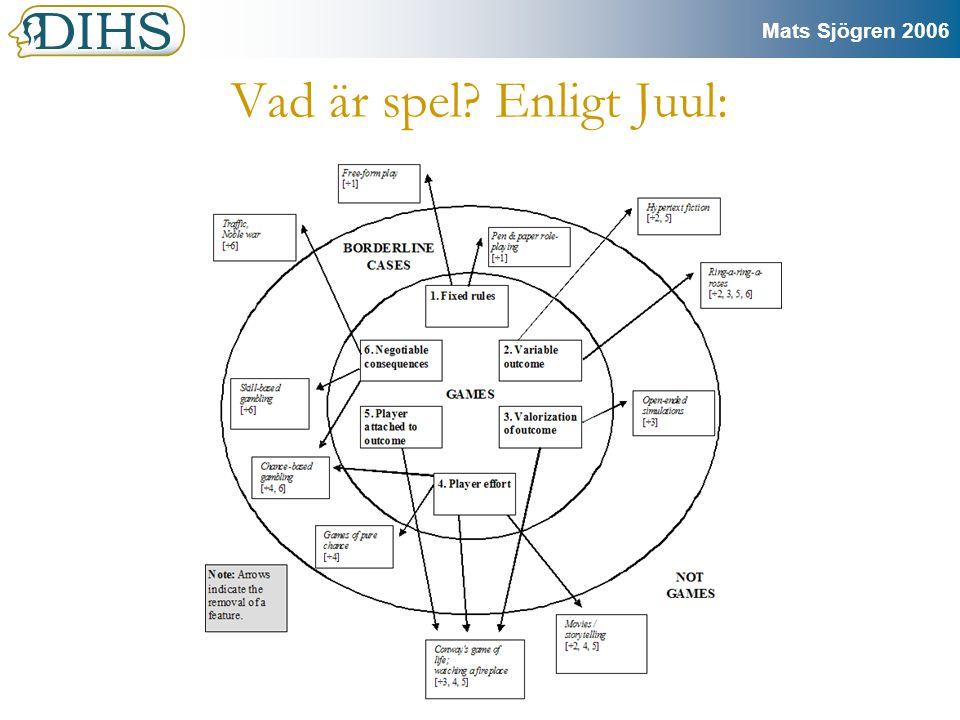 Mats Sjögren 2006 Ludologi Är läran om spel som spel.