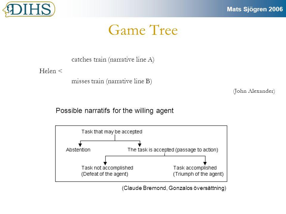 Mats Sjögren 2006 Konflikt mellan berättelse och interaktivitet •Interaktivitet är en chimär – spelkonstruktören väljer vad som är interaktivt •För mycket frihet skadar spelets logiska struktur – designern bestämmer därför innan vilka val som är möjliga – i FFVII kan man bara gå vissa bestämda stigar och bara fråga karaktärer saker ett begränsat antal gånger, i GTA kan man bara gå in i vissa hus.