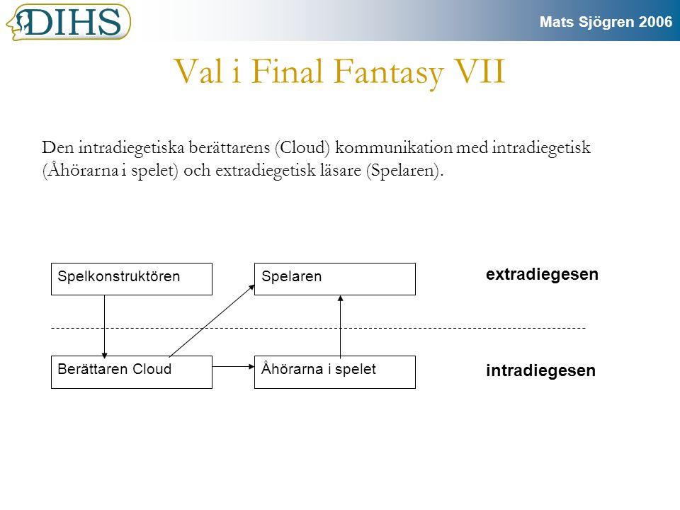 Mats Sjögren 2006 Exemplet Final Fantasy VII •Final Fantasy VII är ett japanskt rollspel (karaktärerna representeras med statistik) •Jag skrev min C-uppsats i litt.vet.
