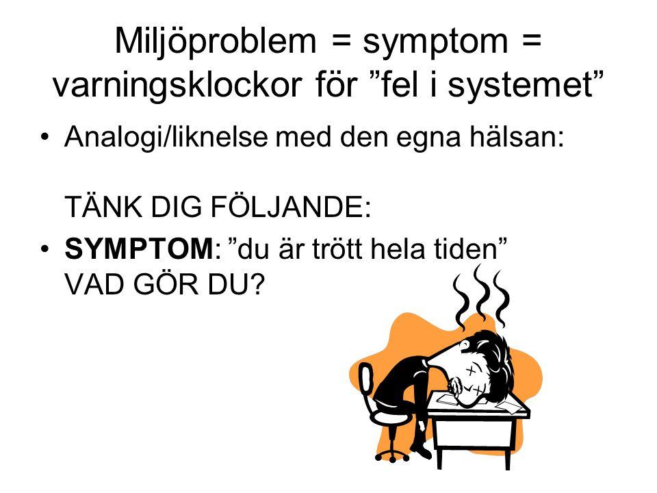 Miljöproblem = symptom = varningsklockor för fel i systemet •Analogi/liknelse med den egna hälsan: TÄNK DIG FÖLJANDE: •SYMPTOM: du är trött hela tiden VAD GÖR DU?