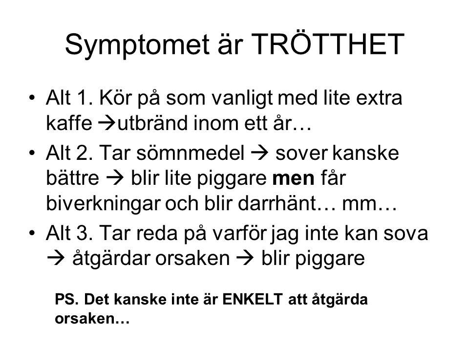 Symptomet är TRÖTTHET •Alt 1.