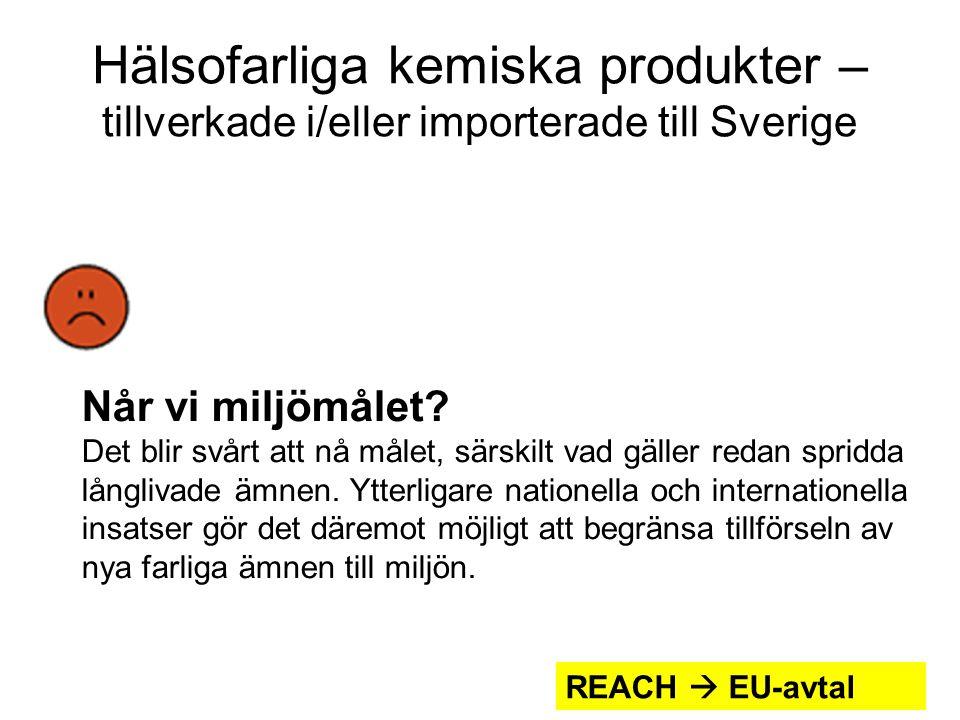 Hälsofarliga kemiska produkter – tillverkade i/eller importerade till Sverige Når vi miljömålet.