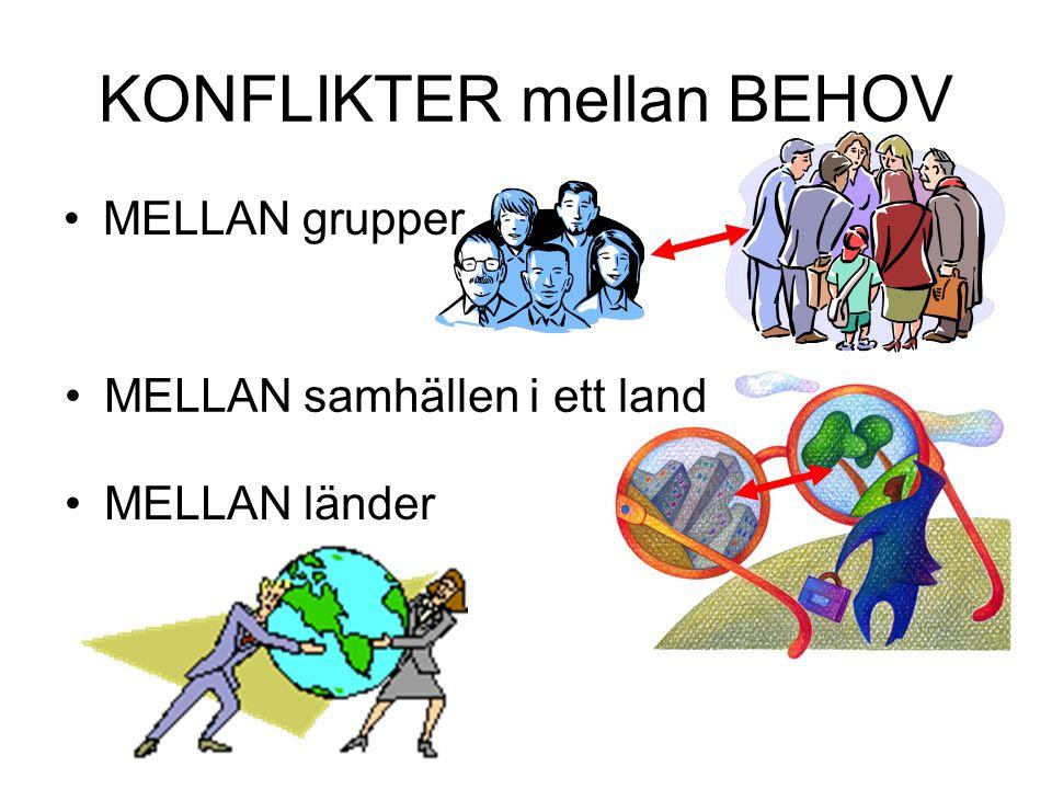 KONFLIKTER mellan BEHOV •MELLAN grupper •MELLAN samhällen i ett land •MELLAN länder