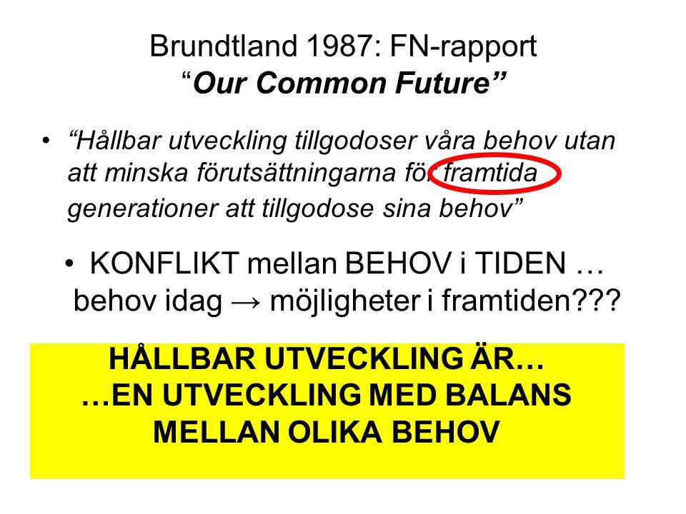 Brundtland 1987: FN-rapport Our Common Future HÅLLBAR UTVECKLING ÄR… …EN UTVECKLING MED BALANS MELLAN OLIKA BEHOV • Hållbar utveckling tillgodoser våra behov utan att minska förutsättningarna för framtida generationer att tillgodose sina behov •KONFLIKT mellan BEHOV i TIDEN … behov idag → möjligheter i framtiden???