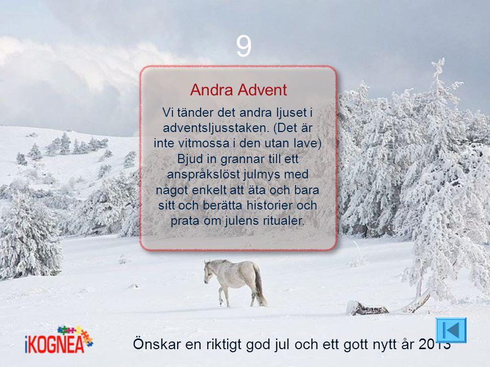 Önskar en riktigt god jul och ett gott nytt år 2013 9 Andra Advent Vi tänder det andra ljuset i adventsljusstaken. (Det är inte vitmossa i den utan la