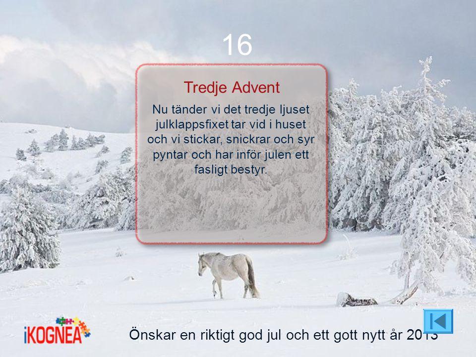 Önskar en riktigt god jul och ett gott nytt år 2013 16 Tredje Advent Nu tänder vi det tredje ljuset julklappsfixet tar vid i huset och vi stickar, sni