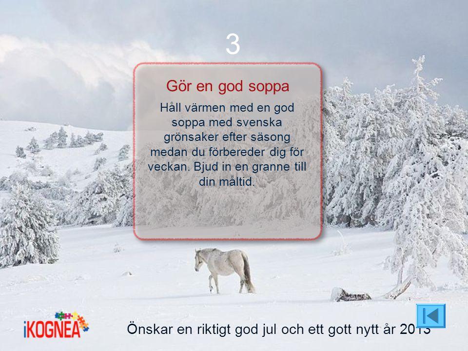 Önskar en riktigt god jul och ett gott nytt år 2013 3 Gör en god soppa Håll värmen med en god soppa med svenska grönsaker efter säsong medan du förber