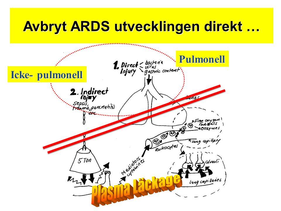Avbryt ARDS utvecklingen direkt … Icke- pulmonell Pulmonell