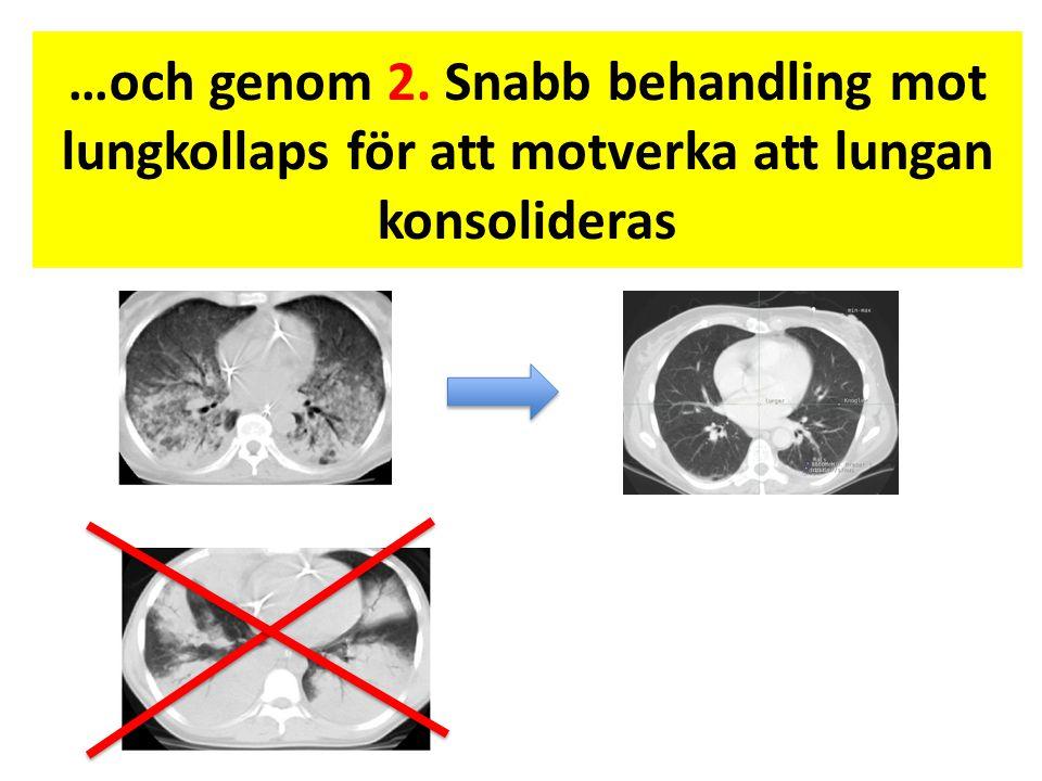…och genom 2. Snabb behandling mot lungkollaps för att motverka att lungan konsolideras