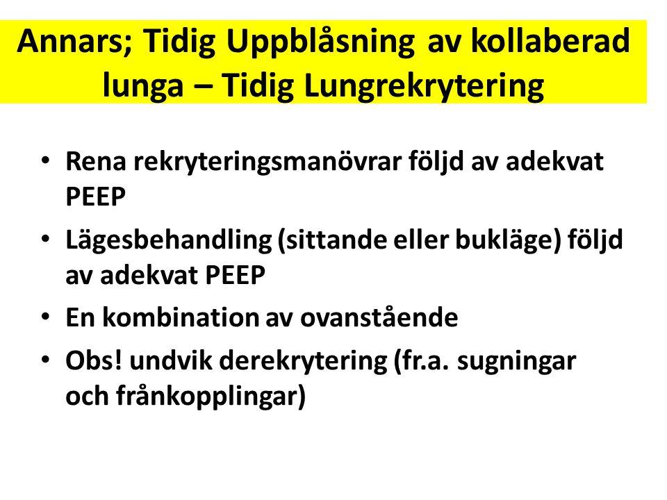 Annars; Tidig Uppblåsning av kollaberad lunga – Tidig Lungrekrytering • Rena rekryteringsmanövrar följd av adekvat PEEP • Lägesbehandling (sittande el