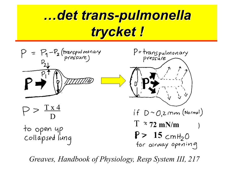 …det trans-pulmonella trycket ! Greaves, Handbook of Physiology, Resp System III, 217 72 mN/m 15 T x 4 D T