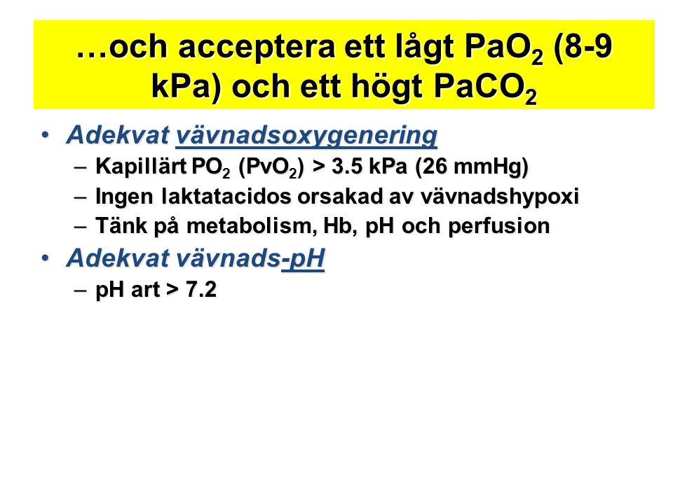 …och acceptera ett lågt PaO 2 (8-9 kPa) och ett högt PaCO 2 •Adekvat vävnadsoxygenering –Kapillärt PO 2 (PvO 2 ) > 3.5 kPa (26 mmHg) –Ingen laktatacid