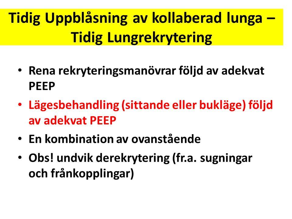Tidig Uppblåsning av kollaberad lunga – Tidig Lungrekrytering • Rena rekryteringsmanövrar följd av adekvat PEEP • Lägesbehandling (sittande eller bukl