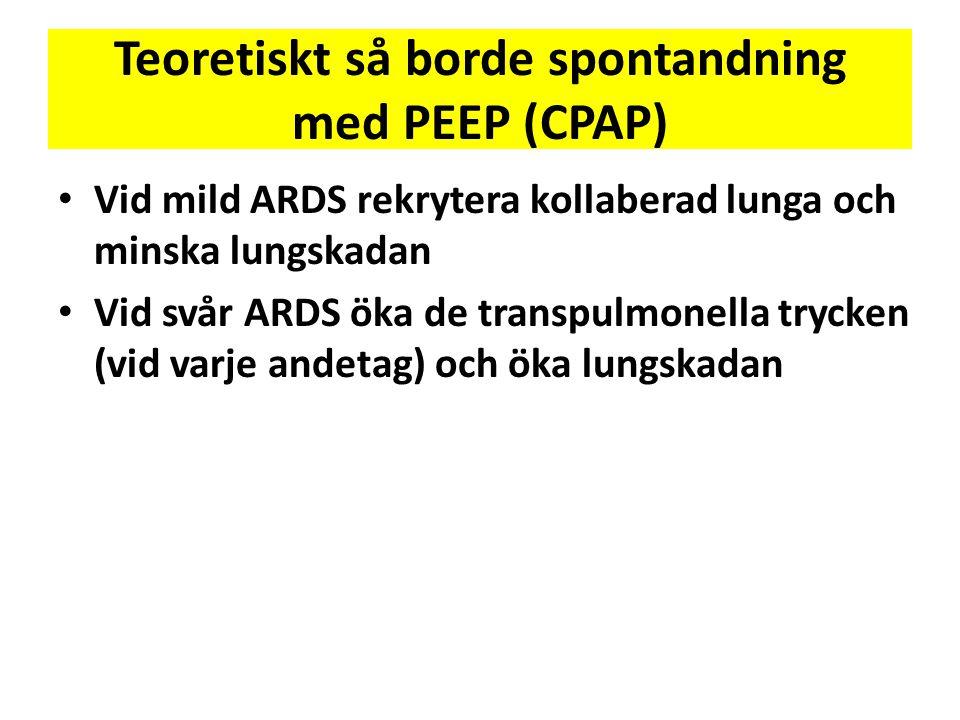 Teoretiskt så borde spontandning med PEEP (CPAP) • Vid mild ARDS rekrytera kollaberad lunga och minska lungskadan • Vid svår ARDS öka de transpulmonel
