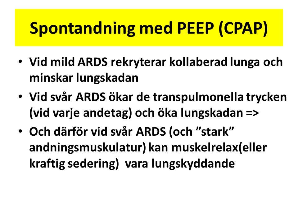 Spontandning med PEEP (CPAP) • Vid mild ARDS rekryterar kollaberad lunga och minskar lungskadan • Vid svår ARDS ökar de transpulmonella trycken (vid v