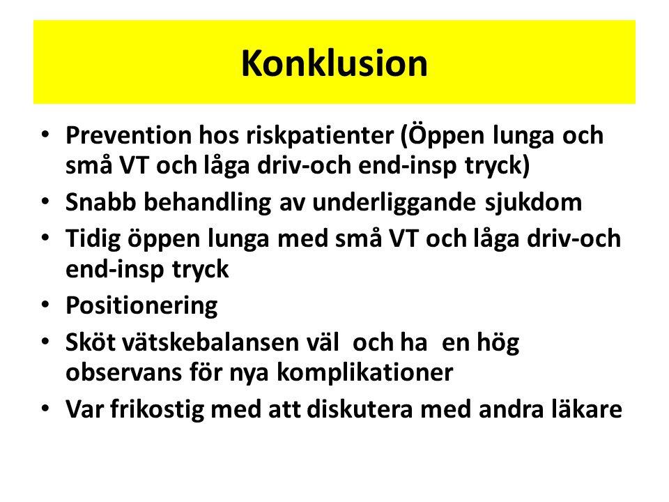 Konklusion • Prevention hos riskpatienter (Öppen lunga och små VT och låga driv-och end-insp tryck) • Snabb behandling av underliggande sjukdom • Tidi