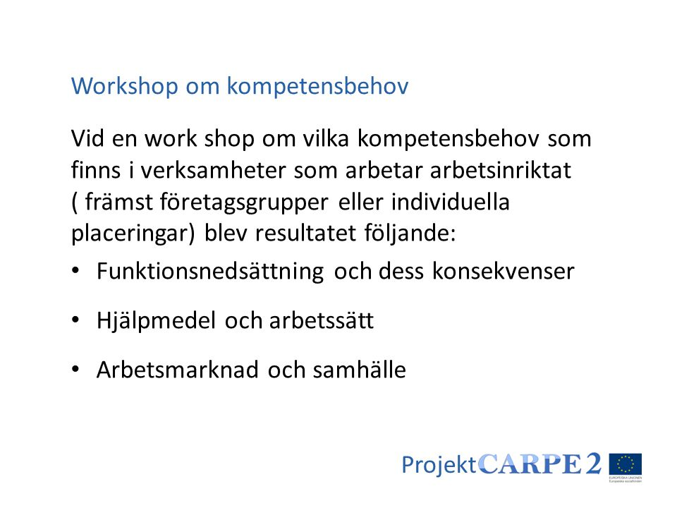 Projekt Vid en work shop om vilka kompetensbehov som finns i verksamheter som arbetar arbetsinriktat ( främst företagsgrupper eller individuella place