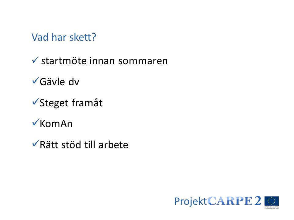 Projekt  startmöte innan sommaren  Gävle dv  Steget framåt  KomAn  Rätt stöd till arbete Vad har skett?